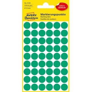 Kolorowe kółka do zaznaczania Avery Zweckform; 270 etyk./op., Ø12 mm, zielone, Kółka do zaznaczania, Etykiety