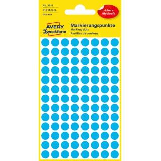 Kolorowe kółka do zaznaczania Avery Zweckform; 416 etyk./op., Ø8 mm, niebieskie, Kółka do zaznaczania, Etykiety