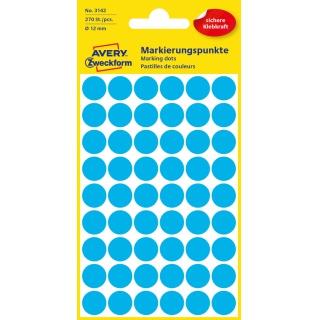 Kolorowe kółka do zaznaczania Avery Zweckform; 270 etyk./op., Ø12 mm, niebieskie, Kółka do zaznaczania, Etykiety