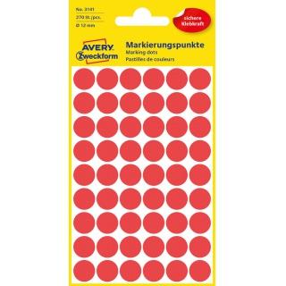 Kolorowe kółka do zaznaczania Avery Zweckform; 270 etyk./op., Ø12 mm, czerwone, Kółka do zaznaczania, Etykiety