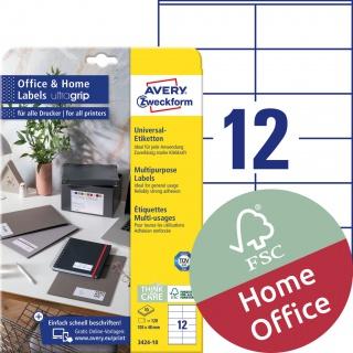 Trwałe etykiety uniwersalne Avery Zweckform, A4, 10 ark./op., 105 x 48 mm, białe, Etykiety uniwersalne Office&Home, Etykiety