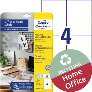 Trwałe recyklingowane etykiety uniwersalne Avery Zweckform, A4, 10 ark./op., 105 x 148 mm, białe, Etykiety uniwersalne Office&Home, Etykiety