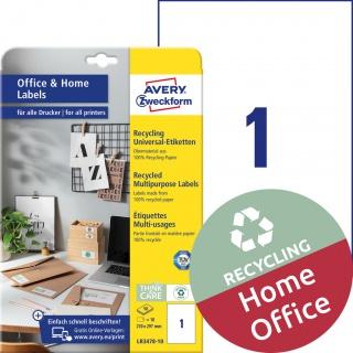 Trwałe recyklingowane etykiety uniwersalne Avery Zweckform, A4, 10 ark./op., 210 x 297 mm, białe, Etykiety uniwersalne Office&Home, Etykiety