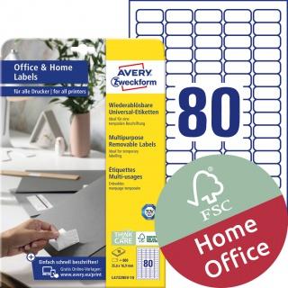 Usuwalne etykiety uniwersalne Avery Zweckform, A4, 10 ark./op., 35,6 x 16,9 mm, białe, Etykiety uniwersalne Office&Home, Etykiety