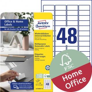 Usuwalne etykiety uniwersalne Avery Zweckform, A4, 10 ark./op., 45,7 x 21,2 mm, białe, Etykiety uniwersalne Office&Home, Etykiety