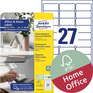Usuwalne etykiety uniwersalne Avery Zweckform, A4, 10 ark./op., 63,5 x 29,6 mm, białe, Etykiety uniwersalne Office&Home, Etykiety