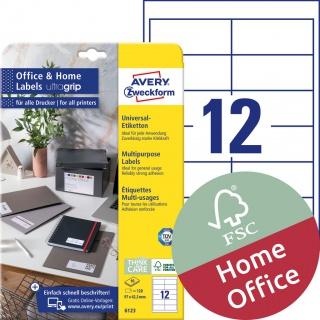 Trwałe etykiety uniwersalne Avery Zweckform, 97 x 42,3mm; A4; 10 ark./op.; białe, Etykiety uniwersalne Office&Home, Etykiety