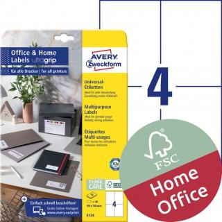Trwałe etykiety uniwersalne Avery Zweckform, 105 x 148mm; A4; 10 ark./op.; białe, Etykiety uniwersalne Office&Home, Etykiety