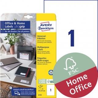 Trwałe etykiety uniwersalne Avery Zweckform, 210 x 297mm; A4; 10 ark./op.; białe, Etykiety uniwersalne Office&Home, Etykiety