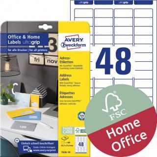 Etykiety adresowe Avery Zweckform, A4, 10 ark./op., 45,7 x 21,2 mm, białe, Etykiety na listy i koperty Office&Home, Etykiety
