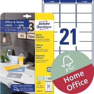 Etykiety adresowe Avery Zweckform, A4, 10 ark./op., 63,5 x 38,1 mm, białe, Etykiety na listy i koperty Office&Home, Etykiety