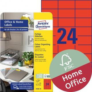 Trwałe etykiety kolorowe Avery Zweckform, A4, 10 ark./op., 70 x 37 mm, czerwone, Etykiety do organizowania i archiwizowania Office&Home, Etykiety