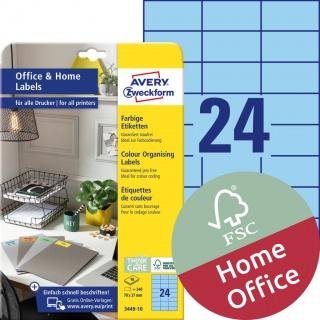 Trwałe etykiety kolorowe Avery Zweckform, A4, 10 ark./op., 70 x 37 mm, niebieskie, Etykiety do organizowania i archiwizowania Office&Home, Etykiety