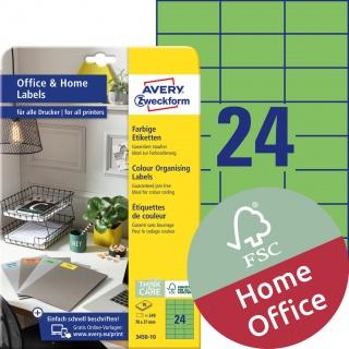 Trwałe etykiety kolorowe Avery Zweckform, A4, 10 ark./op., 70 x 37 mm, zielone, Etykiety do organizowania i archiwizowania Office&Home, Etykiety