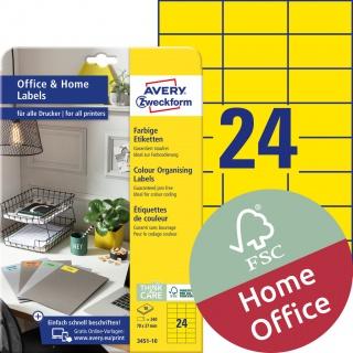 Trwałe etykiety kolorowe Avery Zweckform, A4, 10 ark./op., 70 x 37 mm, żółte, Etykiety do organizowania i archiwizowania Office&Home, Etykiety