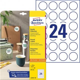 Etykiety okrągłe Avery Zweckform, A4, 10 ark./op., Ø40 mm, białe, trwałe, Etykiety do oznaczania, Etykiety
