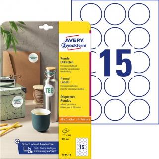 Etykiety okrągłe Avery Zweckform, A4, 10 ark./op., Ø51 mm, białe, trwałe, Etykiety do oznaczania, Etykiety