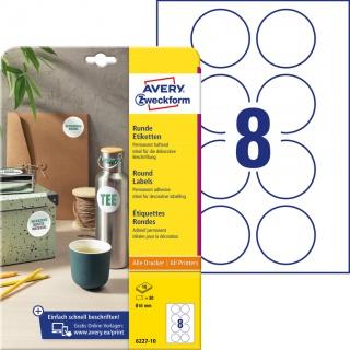 Etykiety okrągłe Avery Zweckform, A4, 10 ark./op., Ø65 mm, białe, trwałe, Etykiety do oznaczania, Etykiety
