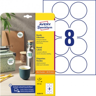 Etykiety okrągłe Avery Zweckform, A4, 10 ark./op., Ø69 mm, białe, trwałe, Etykiety do oznaczania, Etykiety