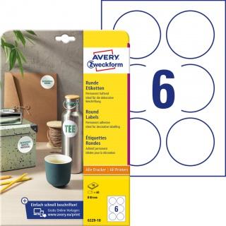 Etykiety okrągłe Avery Zweckform, A4, 10 ark./op., Ø80 mm, białe, trwałe, Etykiety do oznaczania, Etykiety