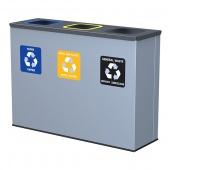 Kosz na śmieci ALDA EKO STATION, do segregacji, 3x60l, stal powlekana organicznie, szary, Kosze metal, Wyposażenie biura