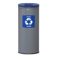 Kosz na śmieci ALDA EKO, 45l, do segregacji: papier, stal powlekana organicznie, niebieska pokrywka, szary, Kosze metal, Wyposażenie biura