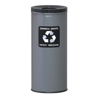 Kosz na śmieci ALDA EKO, 45l, do segregacji: odpady zmieszane, stal powlekana organicznie, czarna pokrywka, szary, Kosze metal, Wyposażenie biura