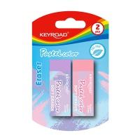 Gumka do ścierania KEYROAD, 2szt, blister, pastelowe kolory, mix kolorów, Gumki, Artykuły do pisania i korygowania