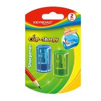 Temperówka plastikowa KEYROAD CUP-SHARPY, pojedyncza, z pojemnikiem, średnica: 8mm, 2szt, blister, Temperówki, Artykuły do pisania i korygowania