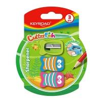 Temperówka plastikowa KEYROAD CUTTER FISH, pojedyncza, średnica: 8mm, 3szt, blister, Temperówki, Artykuły do pisania i korygowania