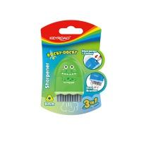 Temperówka plastikowa z gumką KEYROAD ROCKY-DOCKY, pojedyncza, z pojemnikiem, średnica: 8mm, blister, Temperówki, Artykuły do pisania i korygowania