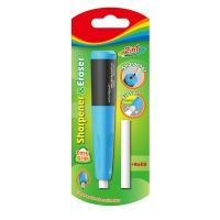 Temperówka plastikowa z gumką KEYROAD, średnica: 8mm, uchwyt na ołówek, wkład, blister, Temperówki, Artykuły do pisania i korygowania