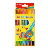 Kredki pastele olejowe KEYROAD, sześciokątne, 12szt, zawieszka, mix kolorów, Plastyka, Artykuły szkolne