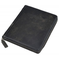 Tablet case ALASSIO, leather, 21,5 x 25,5 x 3,5cm, gray and black
