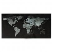 Dryness board. -magn. SIGEL, (910 x 460 x 15mm), glass, world map, black