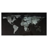 Tablica suchoś. -magn. SIGEL, (910 x 460 x 15mm), szklana, mapa świata, czarna, Tablice suchościeralne, Prezentacja