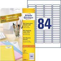 Minietykiety białe Avery Zweckform; A4, 25 ark./op., 46 x 11,1 mm, Etykiety do organizowania i archiwizowania, Papier i etykiety