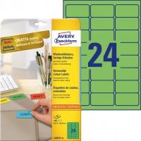 Etykiety usuwalne kolorowe Avery Zweckform; A4, 20 ark./op., 63,5 x 33,9 mm, zielone, Etykiety do organizowania i archiwizowania, Papier i etykiety