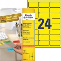 Etykiety usuwalne kolorowe Avery Zweckform; A4, 20 ark./op., 63,5 x 33,9 mm, żółte, Etykiety do organizowania i archiwizowania, Papier i etykiety