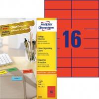 Etykiety trwałe kolorowe Avery Zweckform; A4, 100 ark./op., 105 x 37 mm, czerwone, Etykiety do organizowania i archiwizowania, Papier i etykiety