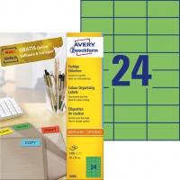 Etykiety trwałe kolorowe Avery Zweckform; A4, 100 ark./op., 70 x 37 mm, zielone, Etykiety do organizowania i archiwizowania, Papier i etykiety