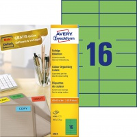 Etykiety trwałe kolorowe Avery Zweckform; A4, 100 ark./op., 105 x 37 mm, zielone, Etykiety do organizowania i archiwizowania, Papier i etykiety