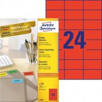 Etykiety trwałe kolorowe Avery Zweckform; A4, 100 ark./op., 70 x 37 mm, czerwone, Etykiety do organizowania i archiwizowania, Papier i etykiety