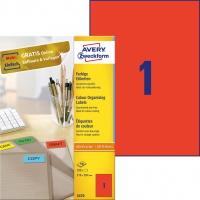 Etykiety trwałe kolorowe Avery Zweckform; A4, 100 ark./op., 210 x 297 mm, czerwone, Etykiety do organizowania i archiwizowania, Papier i etykiety