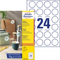 Etykiety okrągłe Avery Zweckform, A4, 100 ark./op., Ø40 mm, białe, trwałe, Etykiety do oznaczania, Papier i etykiety