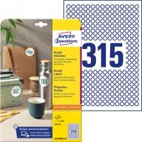 Etykiety okrągłe Avery Zweckform, A4, 25 ark./op., Ø10 mm, białe, usuwalne, Etykiety do oznaczania, Papier i etykiety