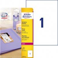 Etykiety błyszczące Avery Zweckform, A4, 40 ark./op., 210 x 297 mm, białe, Etykiety do oznaczania, Papier i etykiety