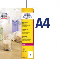 Etykiety przezroczyste Crystal Clear Avery Zweckform, A4, 25 ark./op., 210 x 297 mm, Etykiety do oznaczania, Papier i etykiety