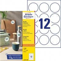 Etykiety okrągłe Avery Zweckform, A4, 100 ark./op., Ø60 mm, białe, trwałe, Etykiety do oznaczania, Papier i etykiety