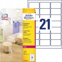 Etykiety przezroczyste Crystal Clear Avery Zweckform, A4, 25 ark./op., 63,5 x 38,1 mm, Etykiety do oznaczania, Papier i etykiety